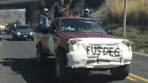 Aspectos de la caravana del FUSDEG. (Fotografía: Avigaí Silva/API)