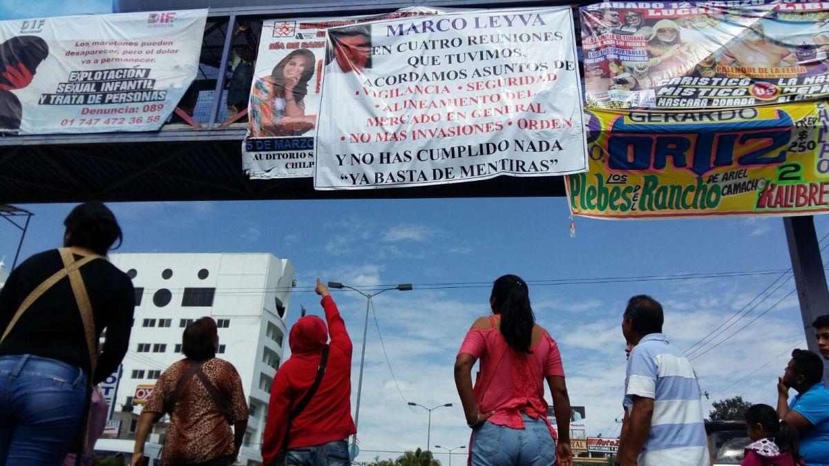 Protestan comerciantes del mercado central de Chilpancingo; exigen seguridad y reordenamiento